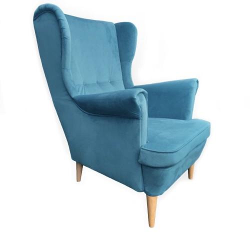 Fotel Uszak Retro Casablanca Kolor Niebieski 666